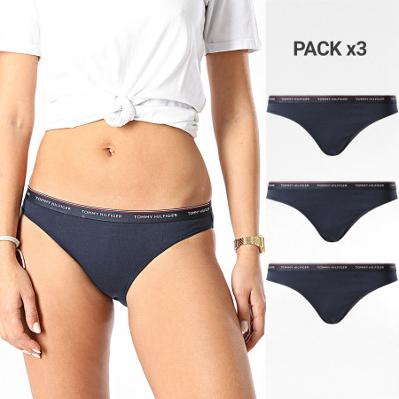 Tommy Hilfiger - Lot De 3 Culottes Femme Bikini 0043 Bleu Marine