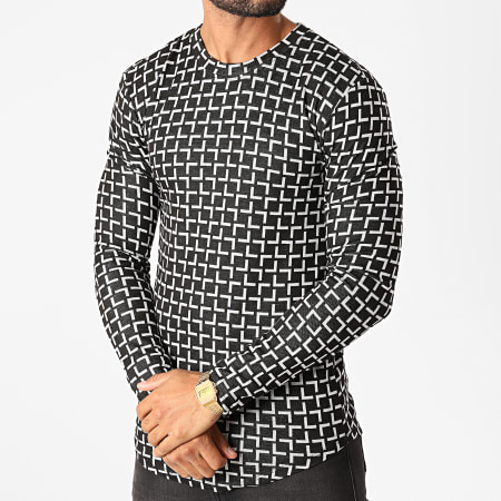 Frilivin - Tee Shirt Manches Longues Oversize 5527 Noir Blanc
