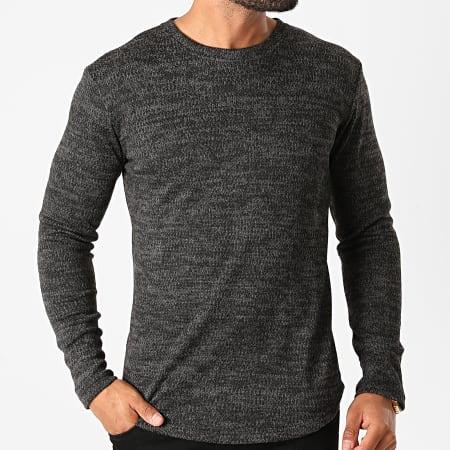 Frilivin - Tee Shirt Manches Longues Oversize 5521 Noir Gris Chiné