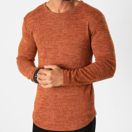 Frilivin - Tee Shirt Manches Longues Oversize 5521 Marron Chiné