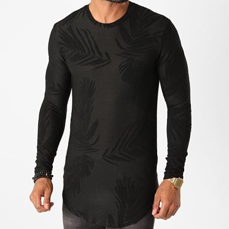 Frilivin - Tee Shirt Manches Longues Oversize Floral U2142 Noir