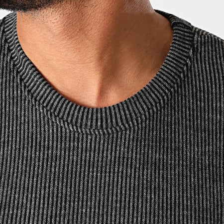 Frilivin - Tee Shirt Manches Longues Oversize A Rayures 5528 Gris Anthracite