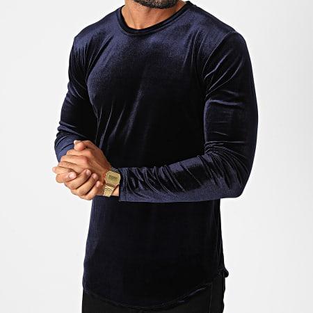Frilivin - Tee Shirt Manches Longues Oversize Velours 15021 Bleu Marine