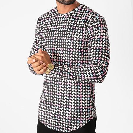 Frilivin - Tee Shirt Manches Longues Oversize 15023 Noir Rose Bleu