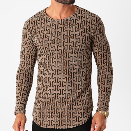 Frilivin - Tee Shirt Manches Longues Oversize Y2382 Marron