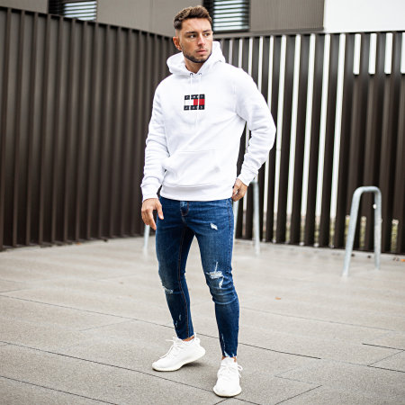 Tommy Jeans - Sweat Capuche Small Flag 8726 Blanc