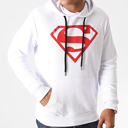 Superman - Sweat Capuche Superman Logo Blanc Rouge