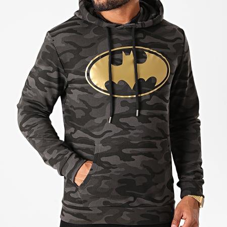 Batman - Sweat Capuche Batman Logo Camouflage Noir Doré
