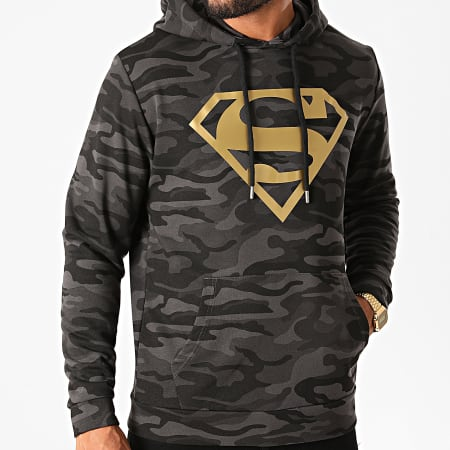 Superman - Sweat Capuche Superman Logo Camouflage Noir Doré