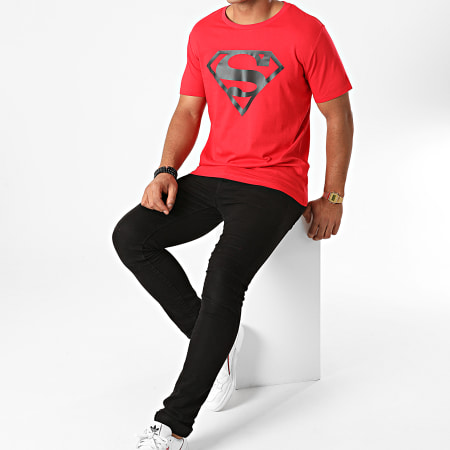 Superman - Tee Shirt Superman Logo Rouge Noir