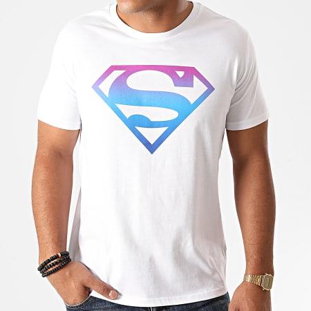 Superman - Tee Shirt Superman Gradient Logo Blanc