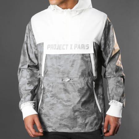 Project X - Veste Outdoor A Capuche 2020076 Gris Camouflage Réfléchissant