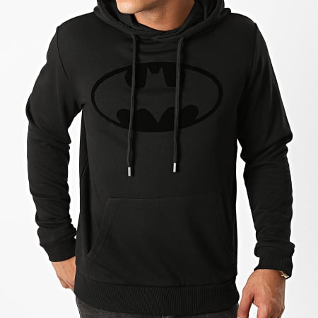 Batman - Sweat Capuche Batman Logo Velvet Noir Noir