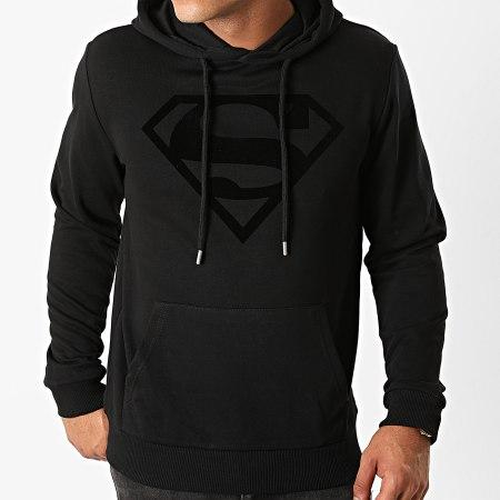 Superman - Sweat Capuche Superman Logo Velvet Noir Noir