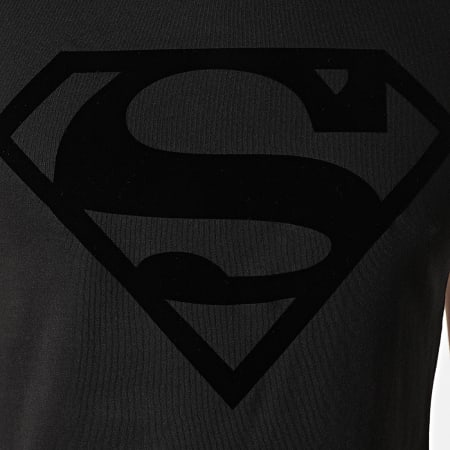 Superman - Tee Shirt Superman Logo Velvet Noir Noir