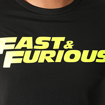 Fast And Furious - Tee Shirt Fast And Furious Noir Jaune Fluo