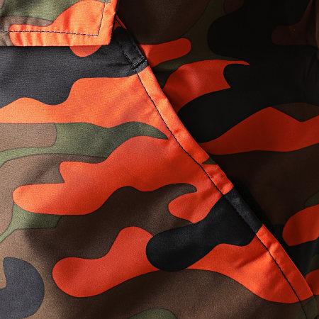 Urban Classics - Coupe-Vent A Capuche Camo TB1623 Vert Kaki Orange Fluo Camouflage