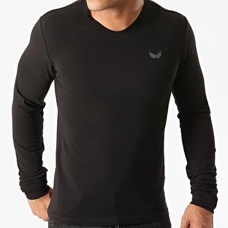 Kaporal - Lot De 2 Tee Shirts Manches Longues Col V VIFTM12 Blanc Noir