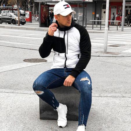 LBO - Veste Zippée Capuche Bimatière 0004 Blanc Noir