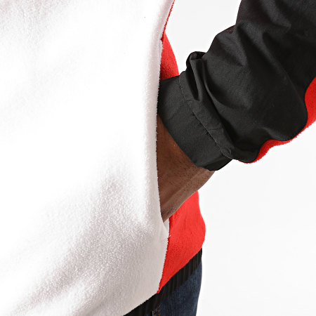 Reebok - Sweat Zippé Capuche Workout Fleece FU3351 Rouge Blanc Noir