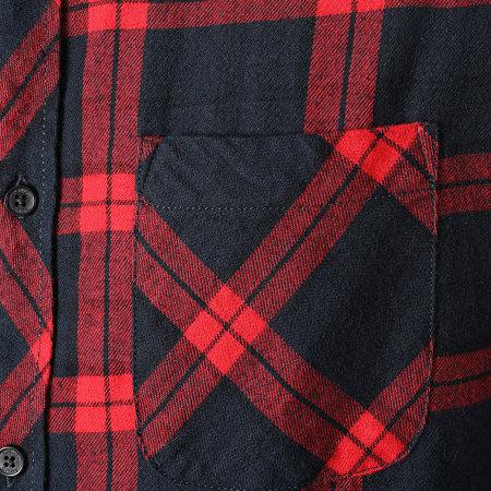 Solid - Chemise Manches Longues A Carreaux Juan 21104461 Bleu Marine Rouge