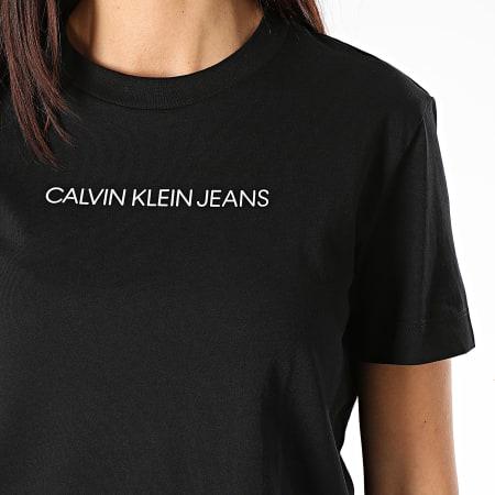 Calvin Klein Jeans - Tee Shirt Femme Shrunken Institutional Modern 4773 Noir