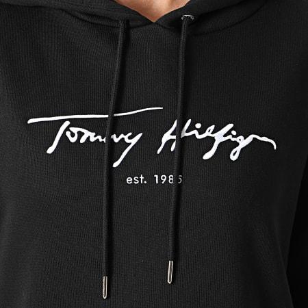 Tommy Hilfiger - Robe Sweat Capuche Femme Script 0545 Noir