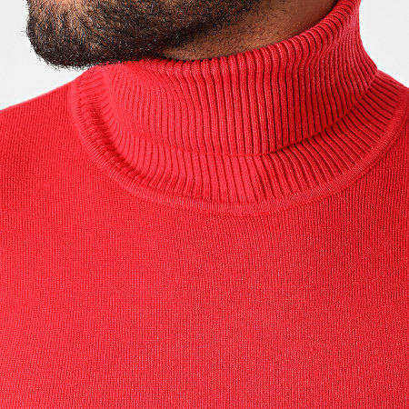 John H - Pull Col Roulé ZW001 Rouge