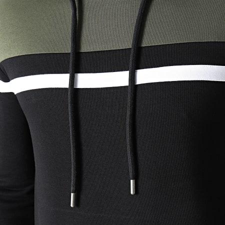LBO - Sweat Capuche Tricolore 1435 Vert Kaki Noir
