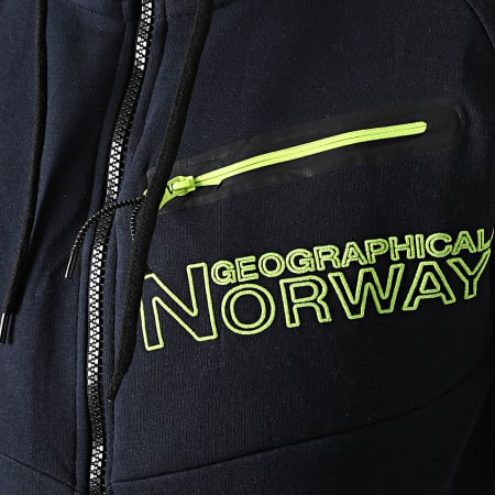 Geographical Norway - Sweat Zippé Capuche Goltan Bleu Marine