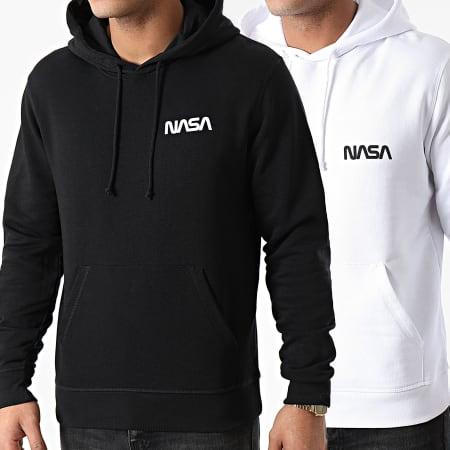 NASA - Lot De 2 Sweats Capuche Simple Chest Noir Blanc