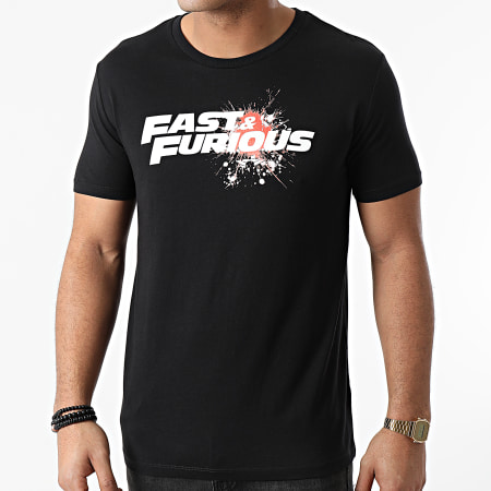 Fast And Furious - Tee Shirt Fast And Furious Splatter Noir Orange