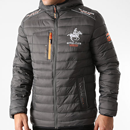 Geographical Norway - Doudoune Capuche Brick Gris Anthracite