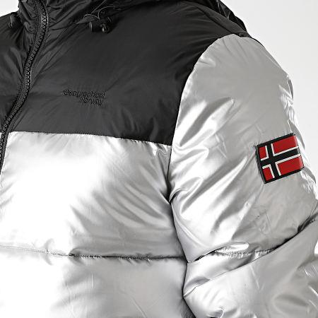Geographical Norway - Doudoune Capuche Astro Argenté Noir
