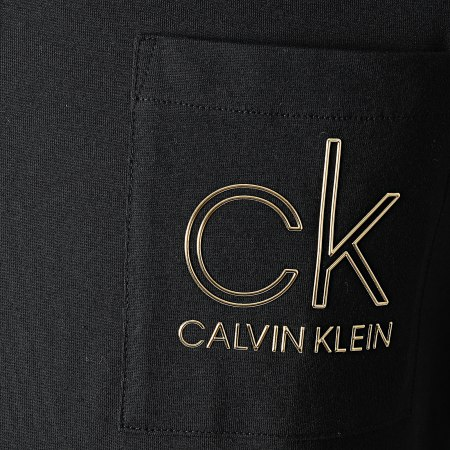 Calvin Klein - Tee Shirt Poche Gold Chest Pocket 6709 Noir Doré