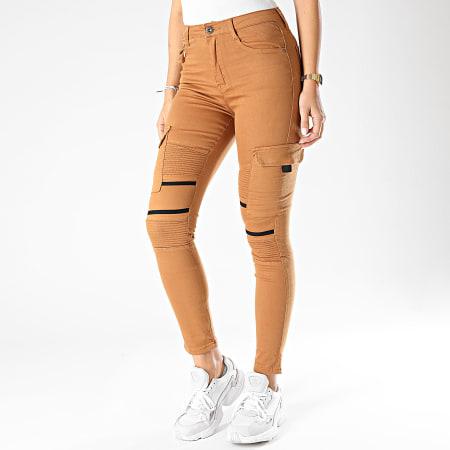 Girls Only - Pantalon Cargo Slim Femme R739 Camel