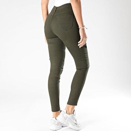 Girls Only - Pantalon Cargo Slim Femme R739 Vert Kaki