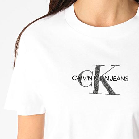 Calvin Klein - Tee Shirt Femme Glitter Monogram 4787 Blanc