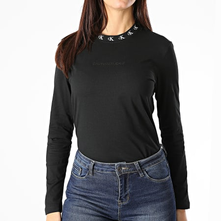 Calvin Klein - Tee Shirt Manches Longues Femme CK Logo Trim 4994 Noir