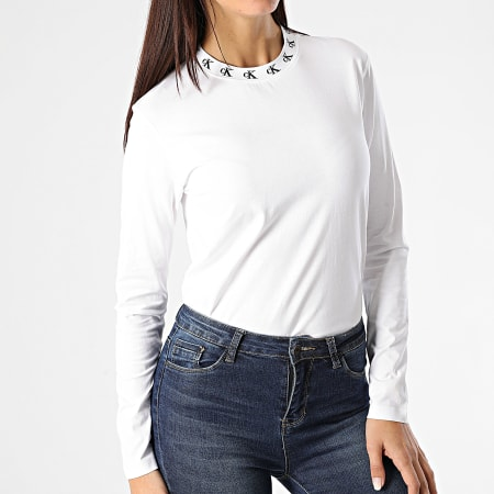 Calvin Klein - Tee Shirt Manches Longues Femme CK Logo Trim 4994 Blanc