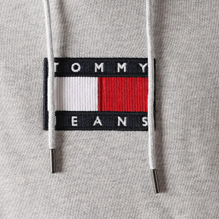 Tommy Jeans - Sweat Capuche Small Flag 8726 Gris Chiné