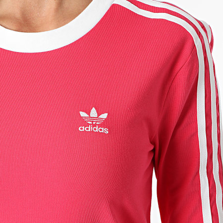 adidas - Tee Shirt Manches Longues Femme A Bandes 3 Stripes GD2441 Rose