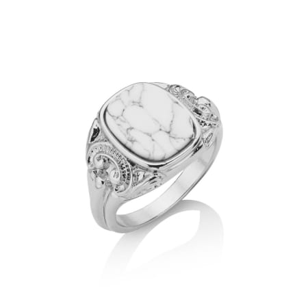 Chained And Able - Bague Square Detail White Stone RA18008 Argenté