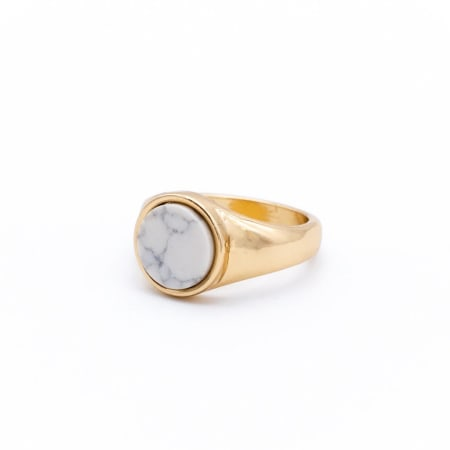 Chained And Able - Bague White Stone Signet RE17012 Doré