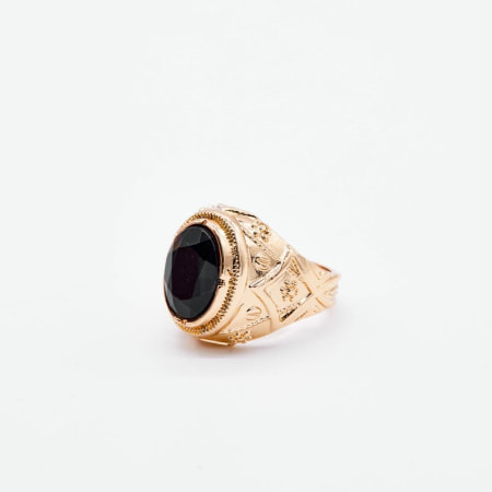 Chained And Able - Bague Black Stone Prince RC20011 Doré
