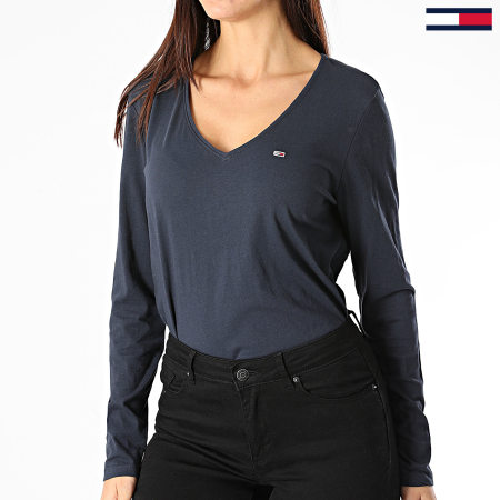 Tommy Jeans - Tee Shirt Manches Longues Femme Col V Jersey 9101 Bleu Marine