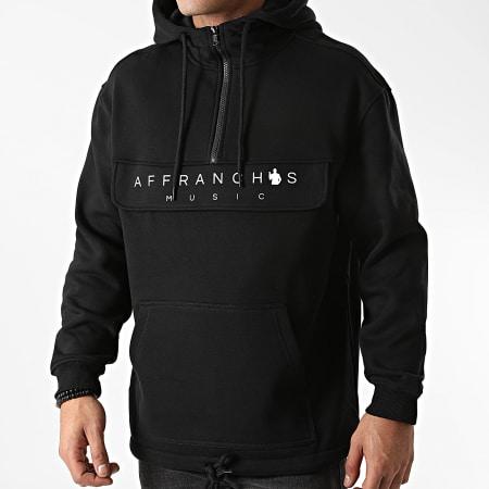 Affranchis Music - Sweat Outdoor Col Zippé Logo Noir Blanc