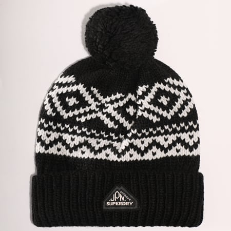 Superdry - Bonnet Fairisle Noir