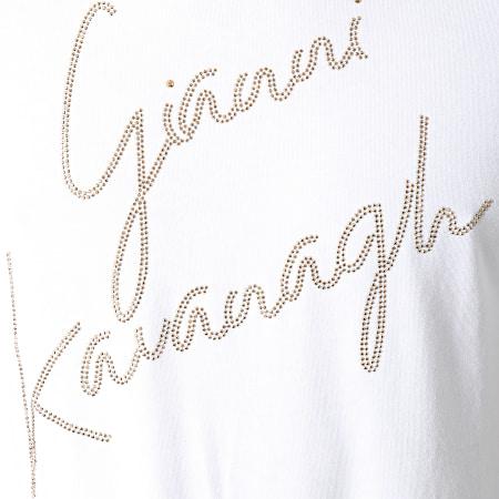 Gianni Kavanagh - Tee Shirt Oversize A Strass GKM00965 Blanc Doré