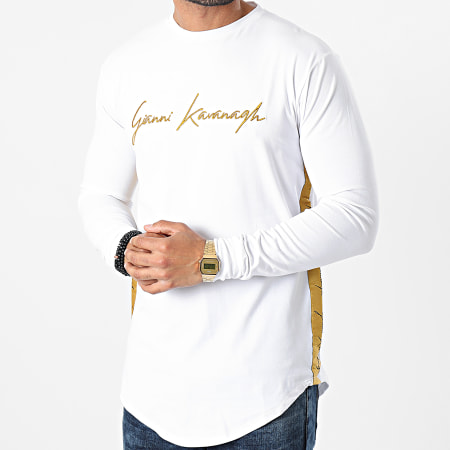 Gianni Kavanagh - Tee Shirt Manches Longues Oversize A Bandes GKM001008 Blanc Doré